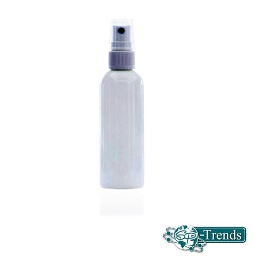 100 ml Rundflasche Tall Boston Round PET weiß mit weißer Sprühpumpe und klarer Überkappe - 140 mcl Hub