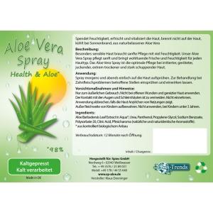 Aloe Vera Bio Spray, Naturkosmetik / 98% Aloe Vera Anteil / 200 ml